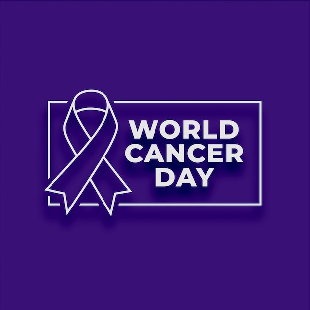 World cancer day purple poster background Free Vector