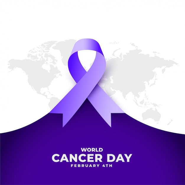 World cancer day purple ribbon background Free Vector