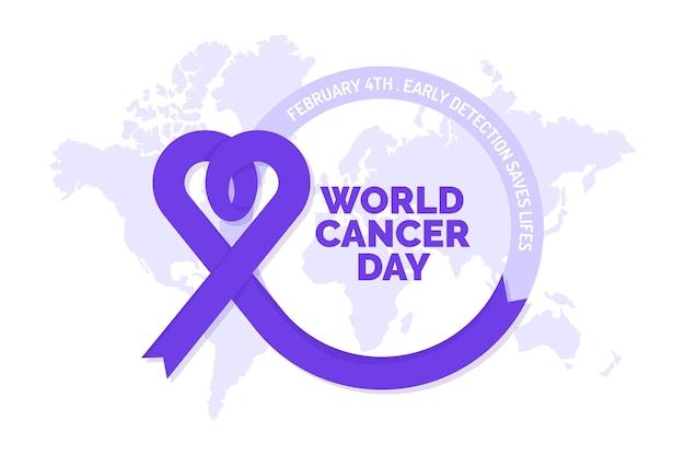 Всемирный день борьбы против рака с фиолетовой лентой на карте мира Бесплатные векторы