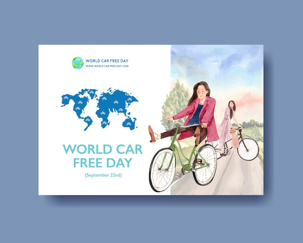 World car free day concept design for social media and internet watercolor vector. Free Vector