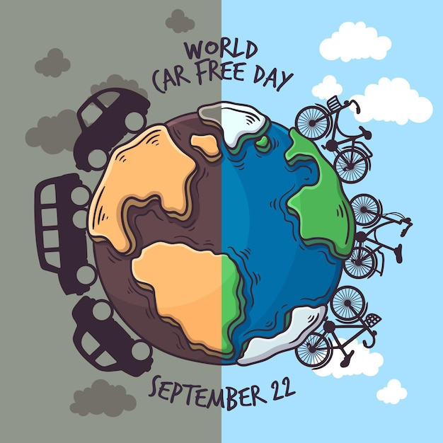 World car free day drawing Free Vector