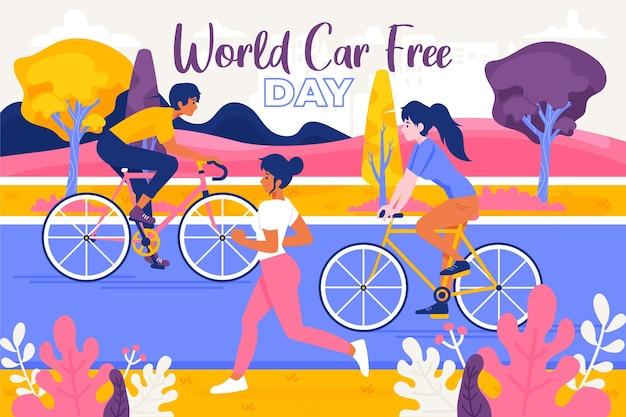 Всемирный день без автомобиля рисованной Бесплатные векторы