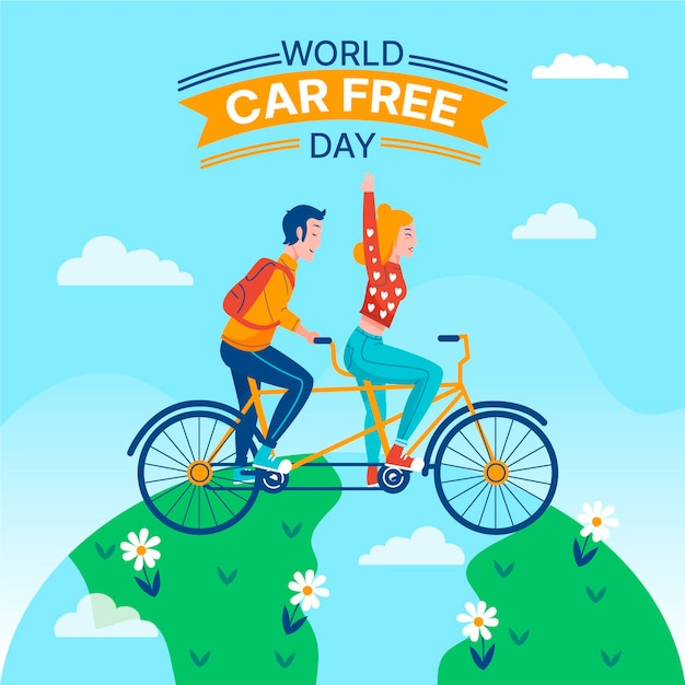 World car free day with bicycle and globe Free Vector