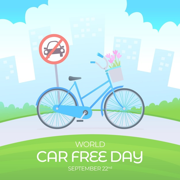 World car free day with bicycle Free Vector