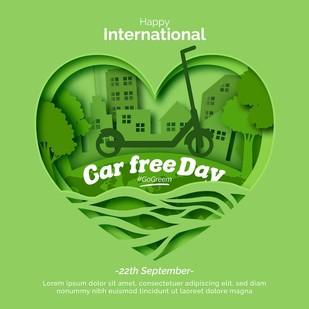 World car free day with heart Free Vector