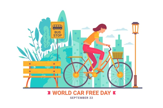World car free day with woman on bicycle Free Vector