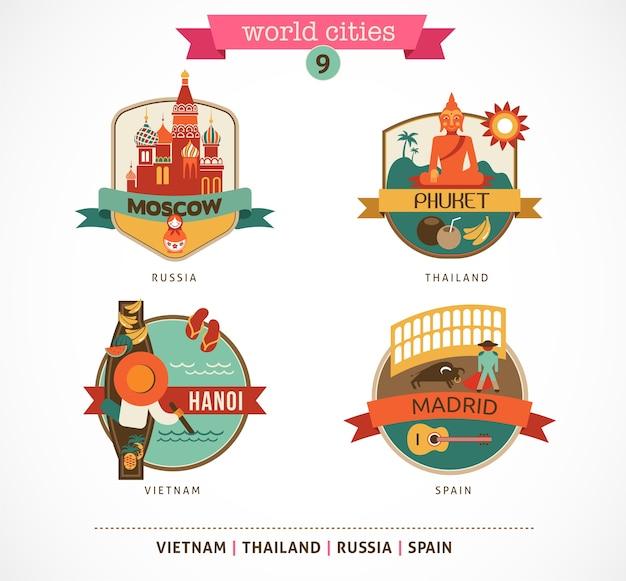 世界の都市のバッジ-モスクワ、プーケット、マドリッド、ハノイ Premiumベクター