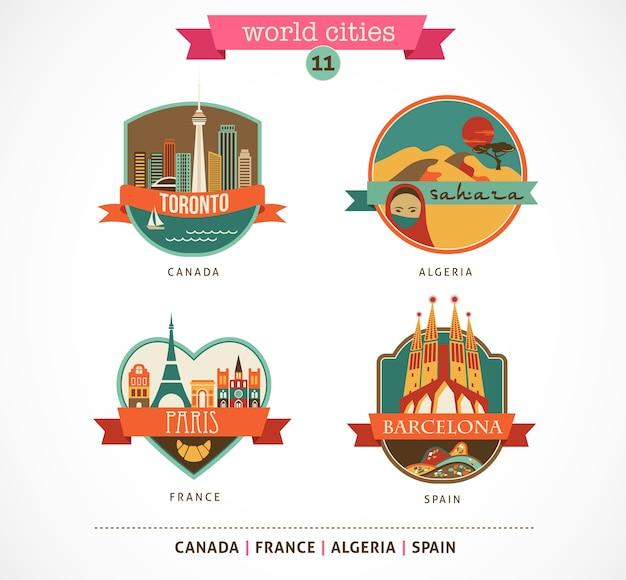 Значки городов мира - париж, торонто, барселона, сахара Premium векторы