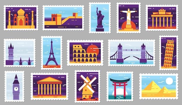 Почтовые марки городов мира. дизайн туристической почтовой марки, открытка с достопримечательностями города и город Бесплатные векторы