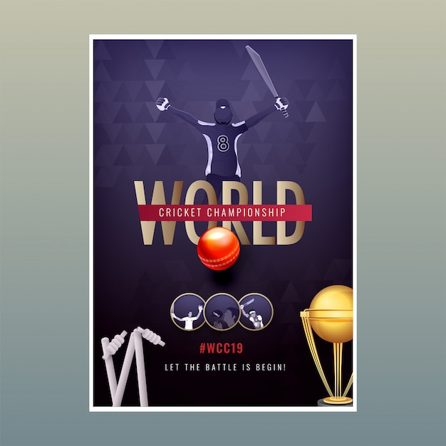World cricket championship poster template, vector illustration of cricket player in winning pose Premium Vector