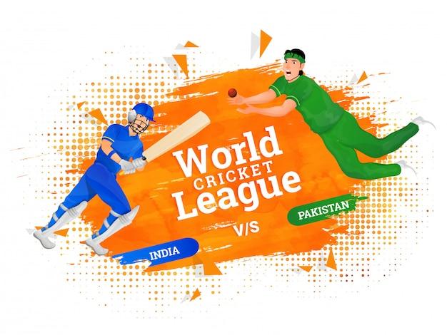 World cricket league poster concept. Premium Vector