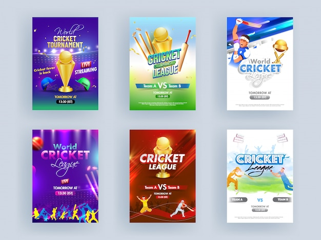 World cricket league template or flyer set with cricketer characters and golden trophy Premium Vector