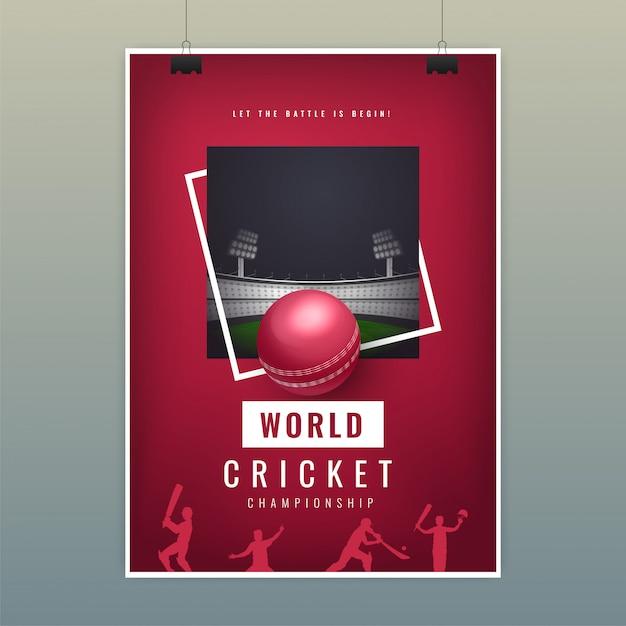 Шаблон плаката world cricket с реалистичным мячом на ночной площадке Premium векторы