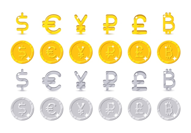 World currency signs and coins Premium Vector