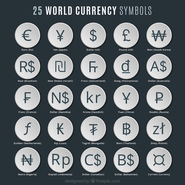 World Currency Symbols Vector Premium Download
