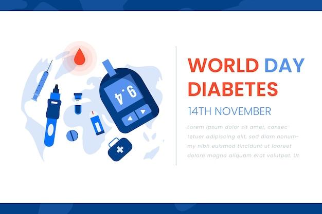Всемирный день диабета баннер в стиле шаблона Premium векторы