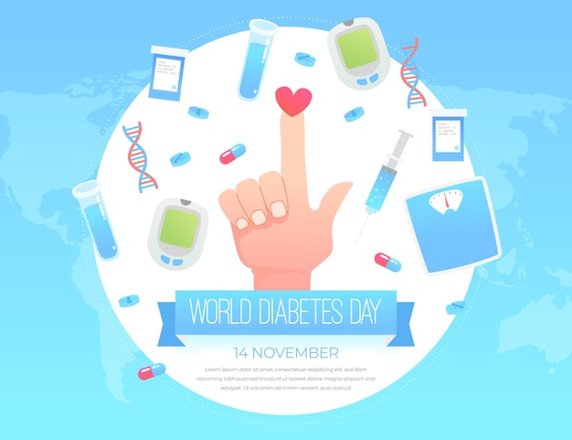 Шаблон баннера всемирного дня диабета Premium векторы