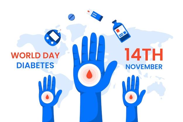 Всемирный день борьбы с диабетом Premium векторы