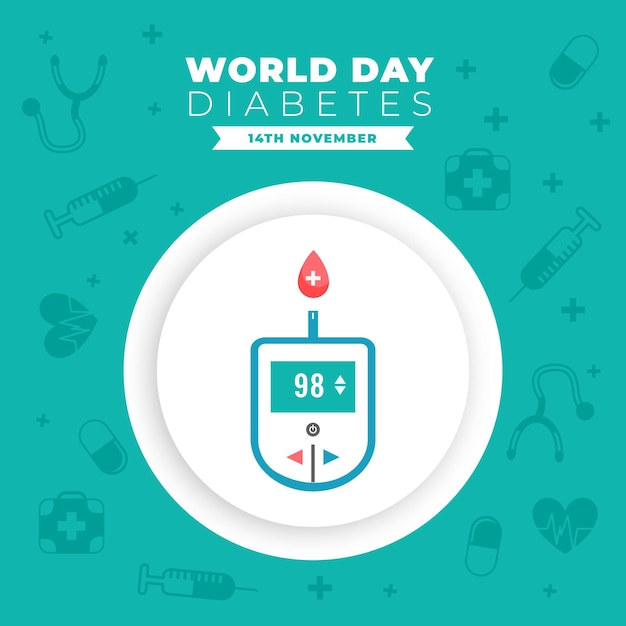 World diabetes day glucometer banner Free Vector