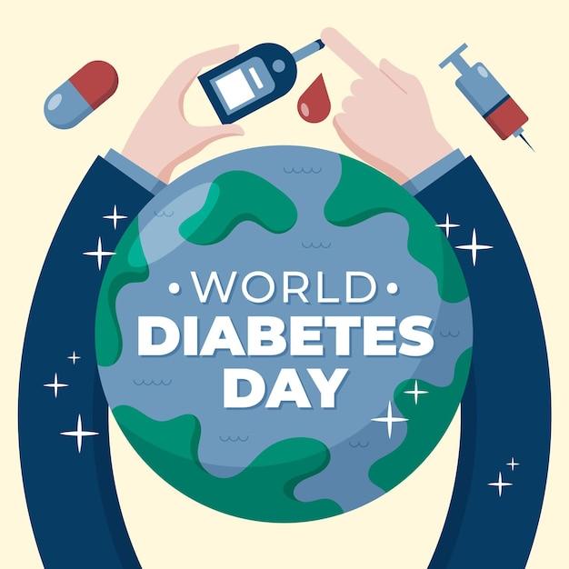 指テストによる世界糖尿病デー 無料ベクター