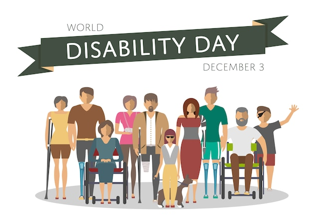 World disability day greeting card Premium Vector