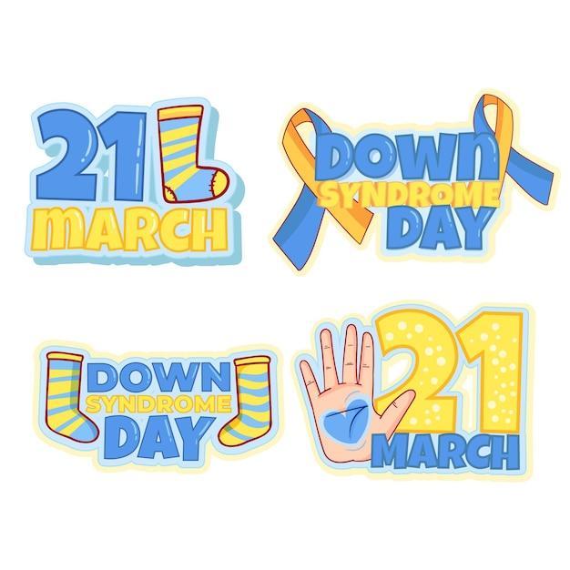 Set di badge per la giornata mondiale della sindrome di down Vettore gratuito