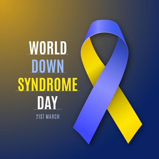 Всемирный день синдрома дауна. синий и желтый знак ленты изолированы Premium векторы