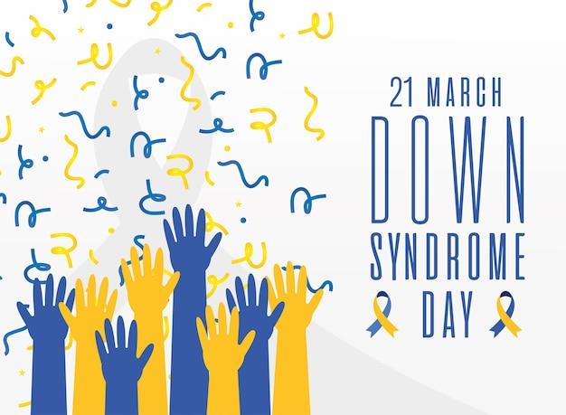 Всемирный день синдрома дауна руки вверх и дизайн конфетти, осведомленность об инвалидности и тема поддержки векторные иллюстрации Premium векторы