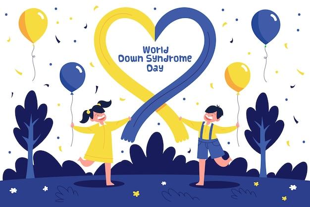 風船で自然の中で走っている子供たちと世界ダウン症の日のイラスト 無料ベクター