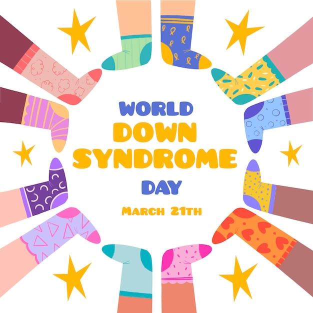 양말을 신은 아이들과 함께하는 세계 다운 증후군의 날 그림 무료 벡터