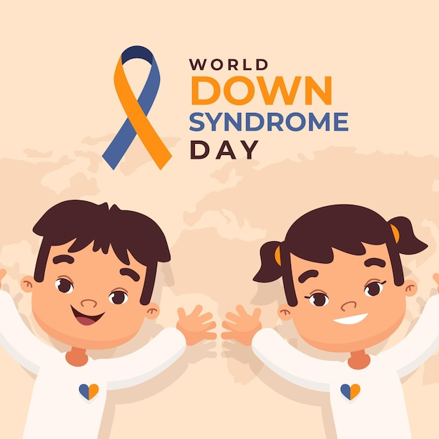 World down syndrome day illustration with little children Free Vector