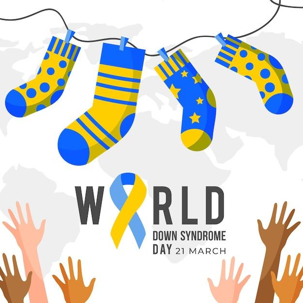 양말과 손으로 세계 다운 증후군의 날 그림 무료 벡터