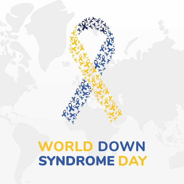 Дизайн ленты всемирного дня синдрома дауна, осведомленность об инвалидности и тема поддержки векторные иллюстрации Premium векторы