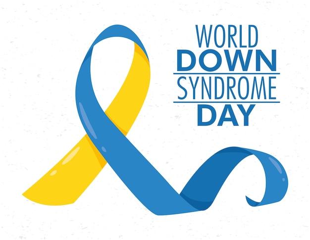 Всемирный день синдрома дауна с кампанией с лентами Premium векторы