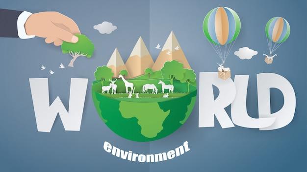 Мир окружающей среды и эко земли день концепции фон. Premium векторы