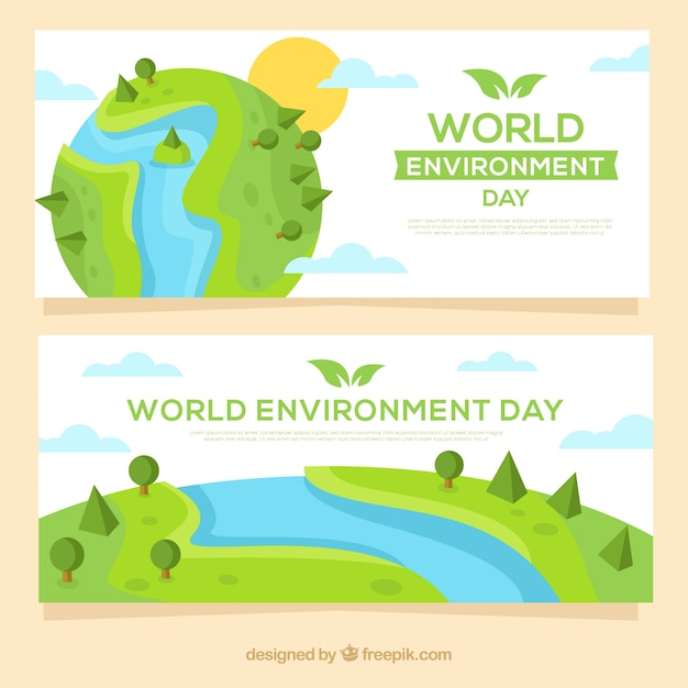 World environment day banner with earth design Free Vector