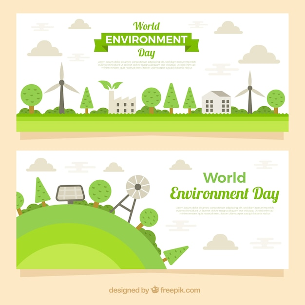 World environment day banner with eolic elements Free Vector