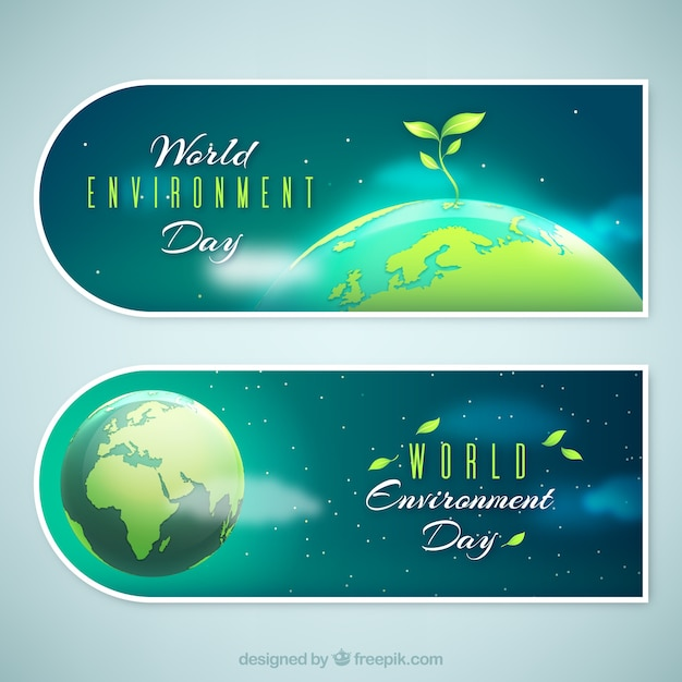 World environment day banner with plant on top of the earth Free Vector