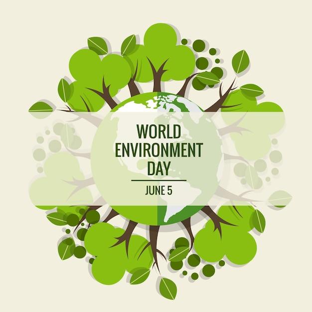 World environment day concept. Green Eco Earth. Vector illustration. Free Vector