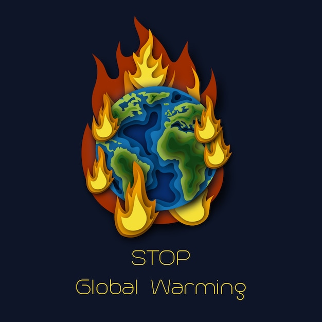 World environment day poster with planet earth globe burning in fire Premium Vector