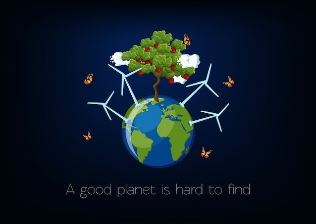 World environment day poster with planet Premium Vector
