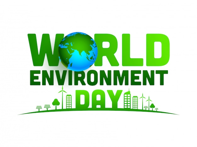 World environment day text with 3d earth globe and green city on white background. Premium Vector