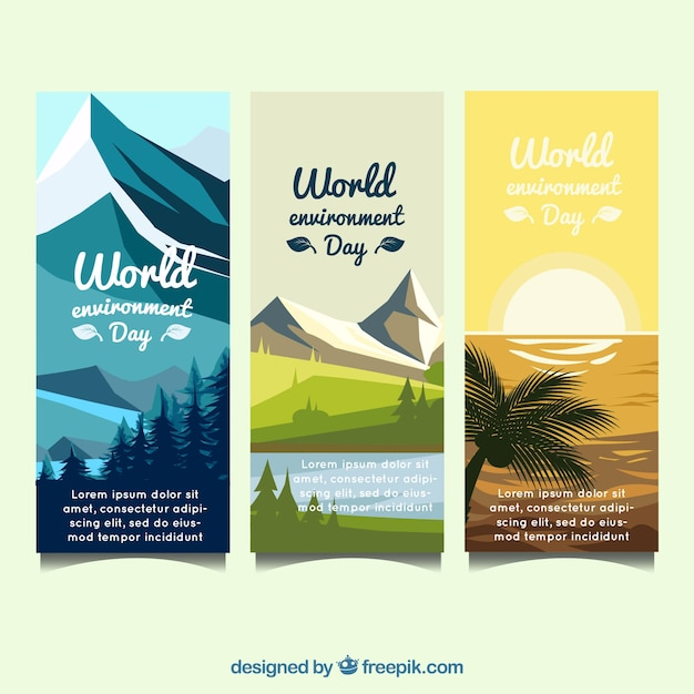 World environment day vertical banner with different landscapes ...
