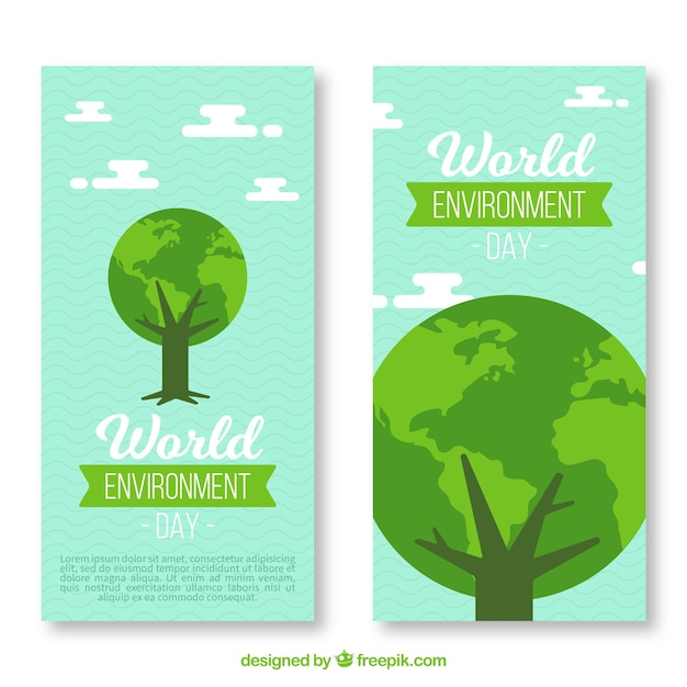 World environment day vertical banner with tree Free Vector