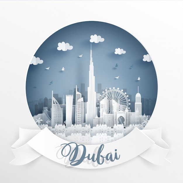 World famous landmark of dubai with white frame and label Premium Vector