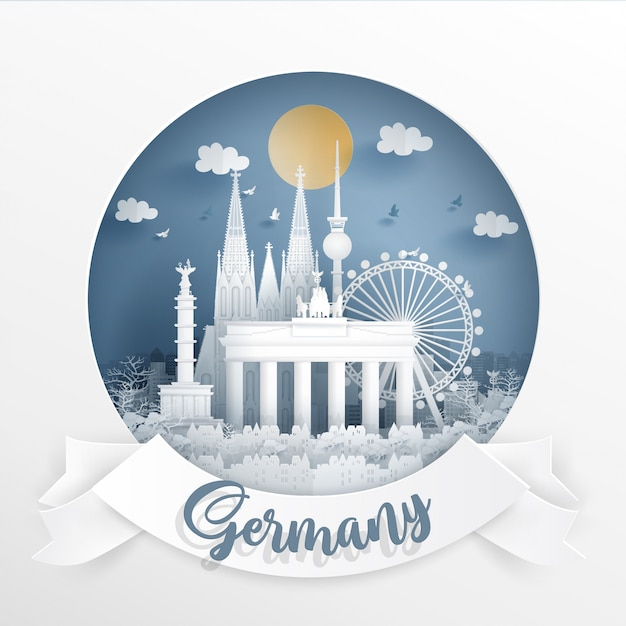World famous landmark of germany with white frame and label Premium Vector