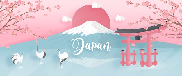 World famous landmarks of japan with fuji mountain and red-crowned crane. Premium Vector
