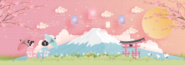 World famous landmarks of japan with fuji mountain Premium Vector