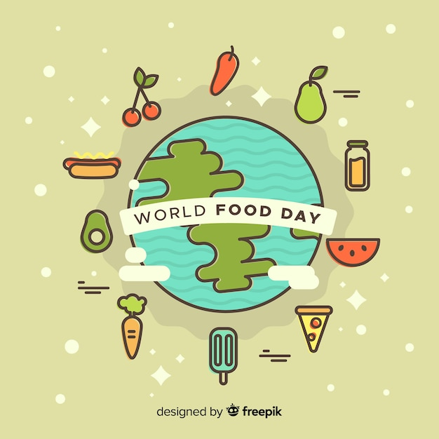 World food day background with food around earth Free Vector