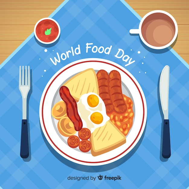 World food day background with food on plate Free Vector